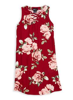 Girls 7-16 Soft Knit Printed Lace Up Tank Dress - 1615051060329