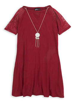 Girls 7-16 Mesh Detail Dress with Necklace - 1615051060330