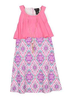 Girls 7-16 Printed Shift Dress with Chiffon Overlay - 1615051060332