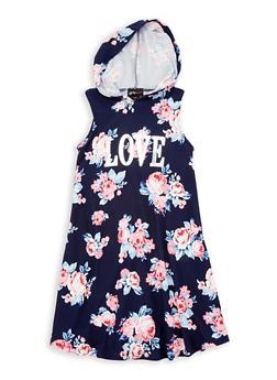 Girls 7-16 Hooded  Foil Graphic Dress - 1615051060333