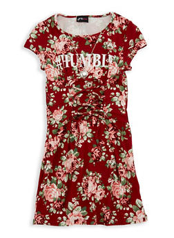 Girls 7-16 Floral Soft Knit Graphic Lace Up Dress - 1615051060338