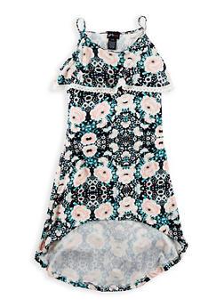 Girls 7-16 Soft Knit Printed High Low Dress - 1615051060339