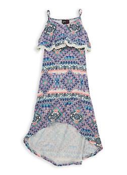 Girls 7-16 Printed Soft Knit High Low Dress - 1615051060340