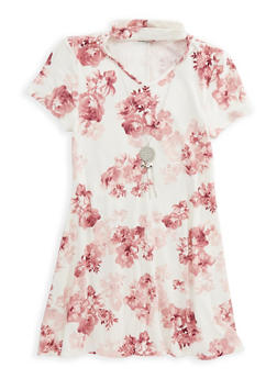 Girls 7-16 Soft Knit Floral Dress with Necklace - 1615051060341