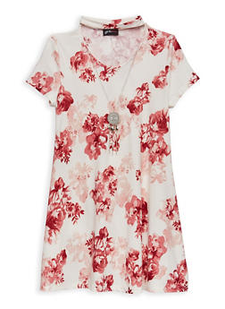 Girls 7-16 Soft Knit Floral Dress with Necklace - 1615051060342