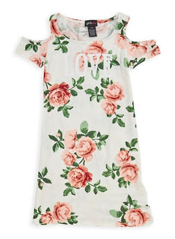 Girls 7-16 Floral Graphic Cold Shoulder Dress - 1615051060344