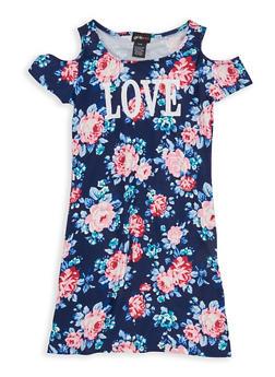 Girls 7-16 Floral Graphic Cold Shoulder Dress - 1615051060344