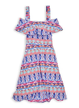 Girls 7-16 Printed Off the Shoulder Dress - 1615051060348