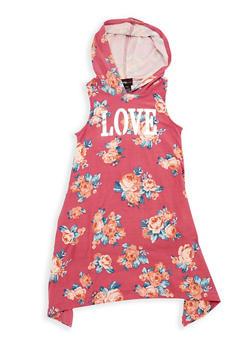 Girls 7-16 Love Graphic Hooded Tank Dress - 1615051060352