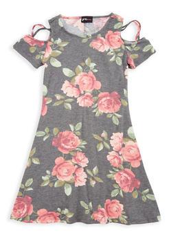 Girls 7-16 Floral Cold Shoulder Dress - 1615051060354