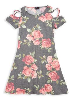 Girls 7-16 Rose Print Caged Cold Shoulder Dress - 1615051060355