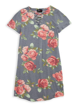 Girls 7-16 Lace Up Floral Dress - 1615051060356