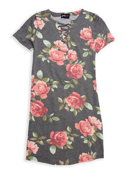 Girls 7-16 Floral Lace Up T Shirt Dress - 1615051060357