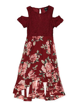 Girls 7-16 Cold Shoulder Lace Floral Skater Dress - 1615051060360