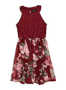 Girls 7-16 Lace Floral Skater Dress - 1615051060361