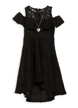 Girls 7-16 Ruffled Cold Shoulder Skater Dress - 1615051060364