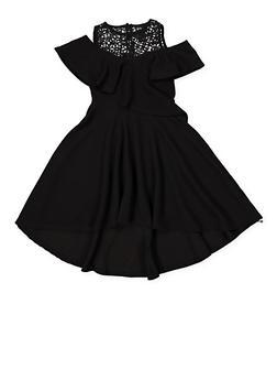 Girls 7-16 Textured Knit Cold Shoulder Skater Dress - 1615051060366