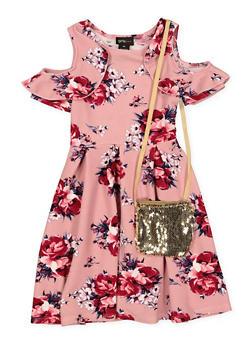 Girls 7-16 Floral Cold Shoulder Dress with Bag - 1615051060368