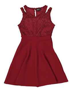 Girls 7-16 Double Strap Crochet Skater Dress - 1615051060369