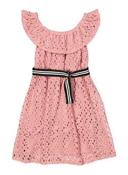 Girls 7-16 Belted Crochet Skater Dress - 1615051060371