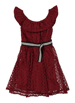 Girls 7-16 Belted Crochet Skater Dress - 1615051060371