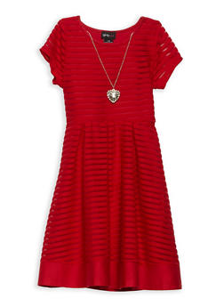 Girls 7-16 Shadow Stripe Skater Dress - 1615051060373