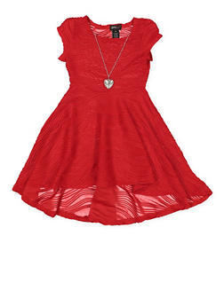 Girls 7-16 Textured Knit Skater Dress with Necklace - 1615051060374