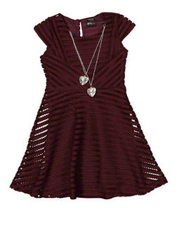 Girls 7-16 Shadow Stripe Skater Dress with Necklace - 1615051060375