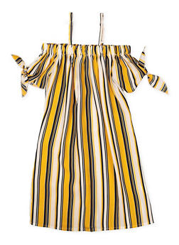 Girls 7-16 Striped Tie Sleeve Off the Shoulder Dress - 1615051060380