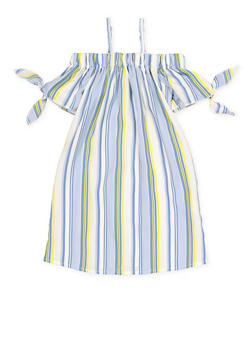 57a1f89c5932 Girls 7-16 Striped Tie Sleeve Off the Shoulder Dress - 1615051060380