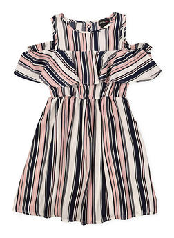 Girls 7-16 Printed Ruffle Cold Shoulder Dress - MAUVE - 1615051060381