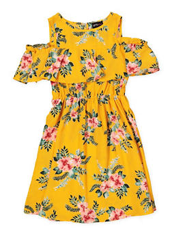 Girls 7-16 Printed Ruffle Cold Shoulder Dress - MUSTARD - 1615051060381
