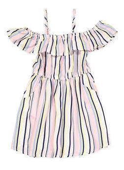 Girls 7-16 Striped 2 Pocket Off the Shoulder Dress - 1615051060382