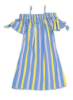 Girls 7-16 Striped off the Shoulder Shift Dress - 1615051060387