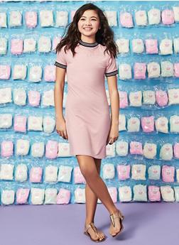 Girls 7-16 Striped Tape Trim T Shirt Dress - 1615051060393