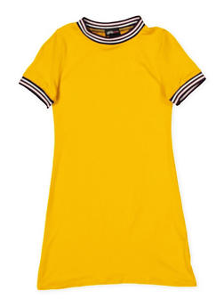 Girls 7-16 Striped Tape Trim T Shirt Dress - 1615051060393