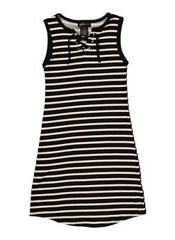 Girls 7-16 Striped Lace Up Tank Dress - 1615051060395
