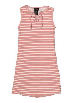 f70665e6245 Girls 7-16 Striped Lace Up Tank Dress - 1615051060395