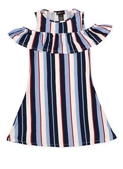 Girls 7-16 Striped Cold Shoulder Dress - 1615051060400