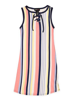 Girls 7-16 Sleeveless Striped Lace Up Tank Dress - 1615051060401