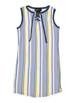 Girls 7-16 Striped Soft Knit Lace Up Tank Dress - 1615051060402