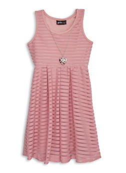 Girls 4-6x Shadow Stripe Skater Dress with Necklace - 1615051060405