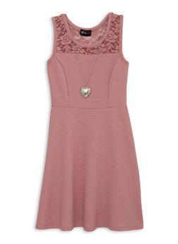 Girls 7-16 Lace Yoke Skater Dress with Necklace - 1615051060407
