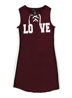 12c36a5a231 Girls 7-16 Lace Up Love Tank Dress - 1615051060410