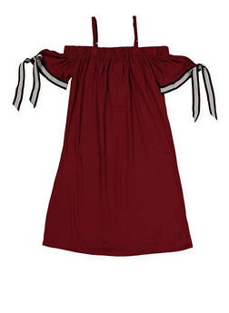 Girls 7-16 Ribbon Tie Sleeve Off the Shoulder Dress - 1615051060415
