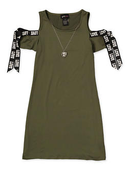 Girls 7-16 Love Tie Cold Shoulder Dress with Necklace - 1615051060416