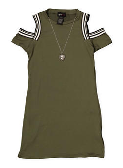 Girls 7-16 Cold Shoulder Dress with Necklace - 1615051060417