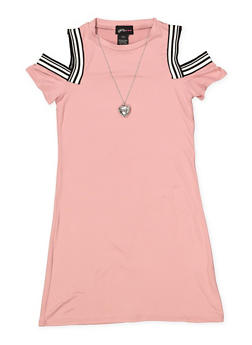 Girls 7-16 Cold Shoulder Dress with Necklace - 1615051060417