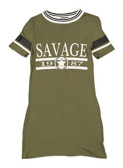 Girls 7-16 Savage Graphic T Shirt Dress - 1615051060418