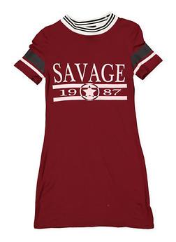 Girls 7-16 Savage Graphic T Shirt Dress - 1615051060418